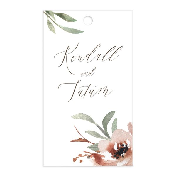 Muted Floral Wedding Gift Tag front copper