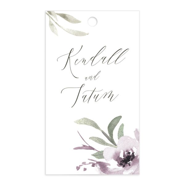 Muted Floral Wedding Gift Tag front purple