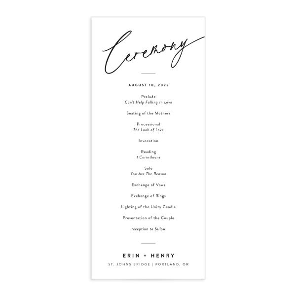 Simply Us Wedding Program Front White