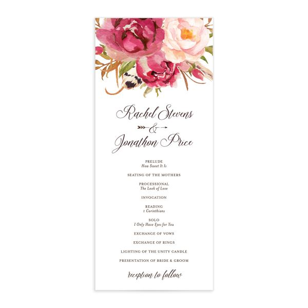 Bohemian Floral Wedding Ceremony Program front pink