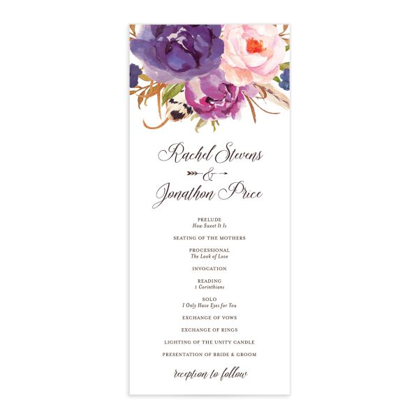 Bohemian Floral Wedding Ceremony Program front purple