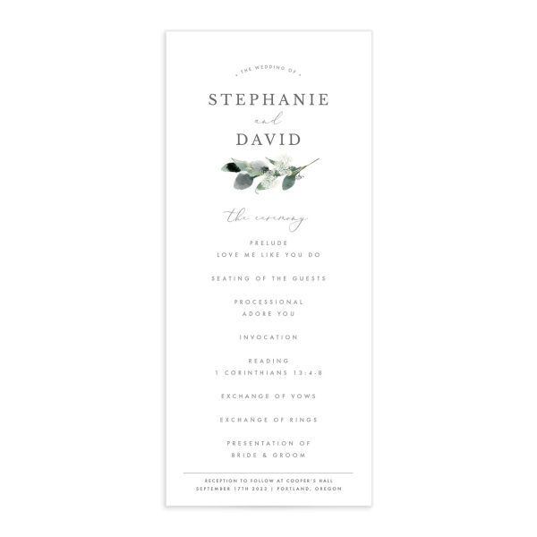 Elegant Greenery wedding program front