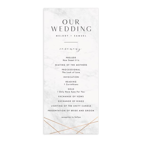 Geometric Marble Wedding Ceremony card front