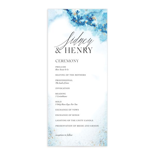 Painted Ethereal Wedding Program front blue