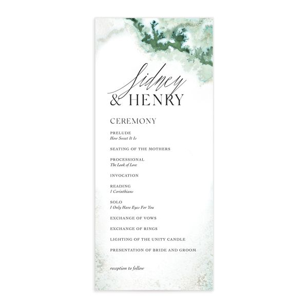 Painted Ethereal Wedding Program front green