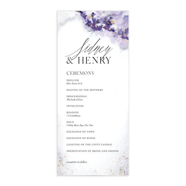 Painted Ethereal Wedding Program front purple