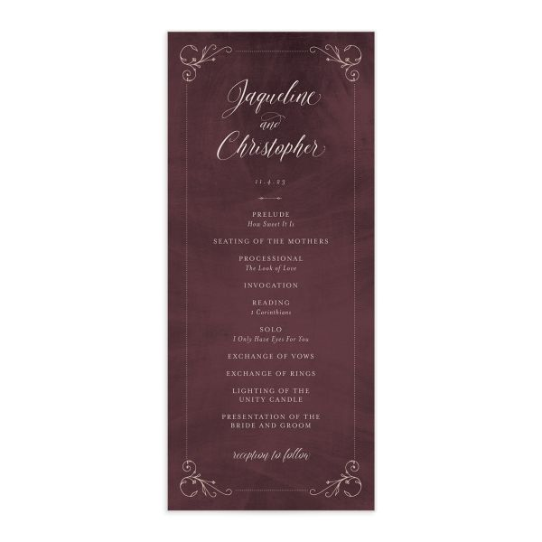 Vintage Luxe Wedding Program Front Red