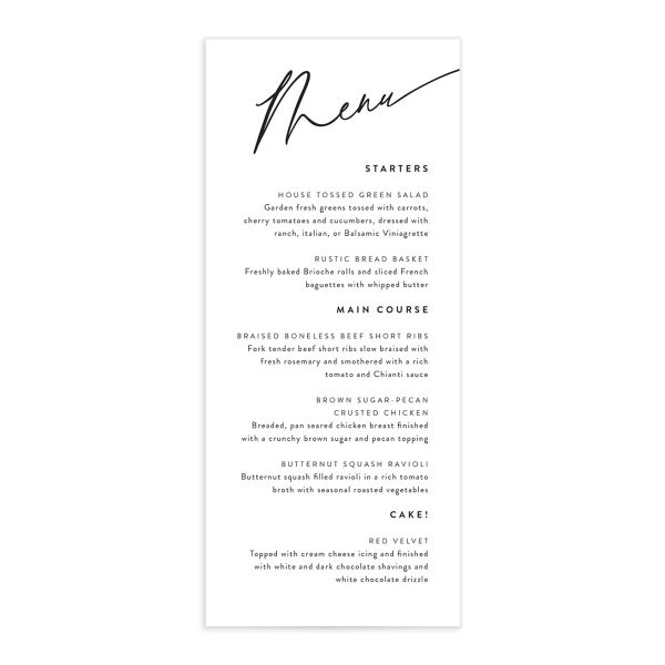 Simply Us Menu Card front white