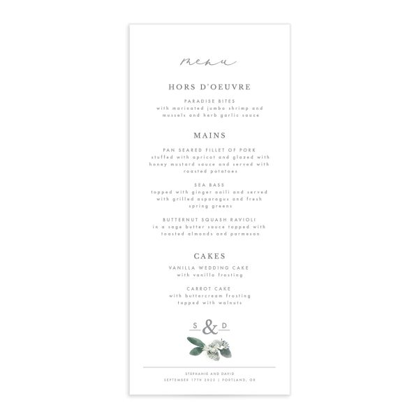Elegant Greenery wedding menu front