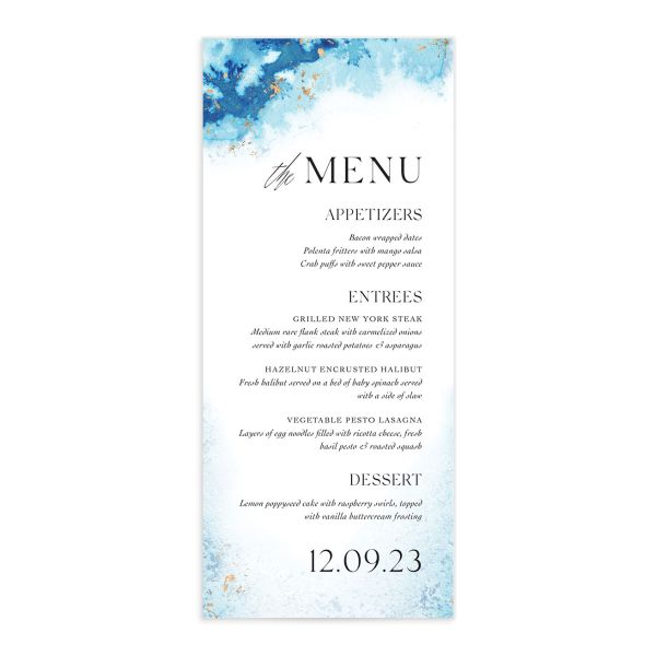 Painted Ethereal Menu Card front blue