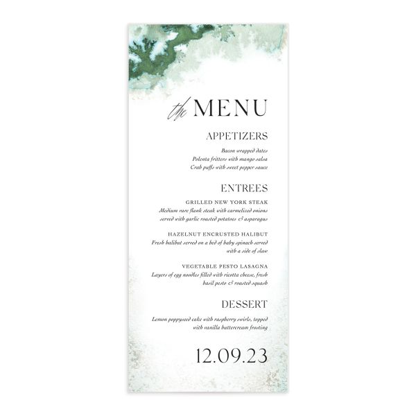 Painted Ethereal Menu Card front green