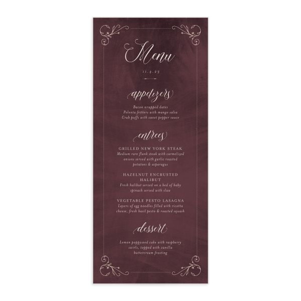 Vintage Luxe Menu Front Red