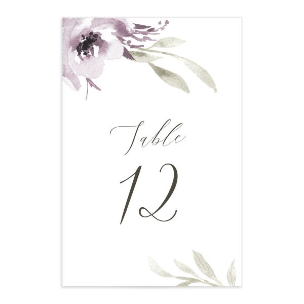 Muted Floral Wedding Table Numbers front purple