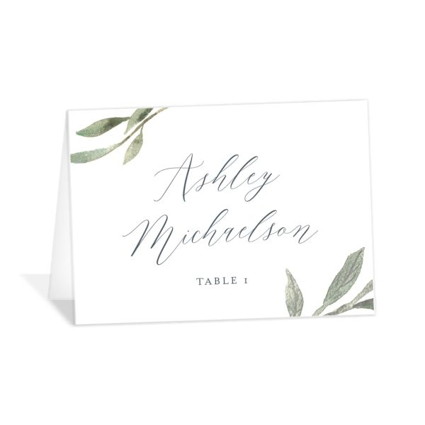 Muted Floral Wedding Place Card front blue