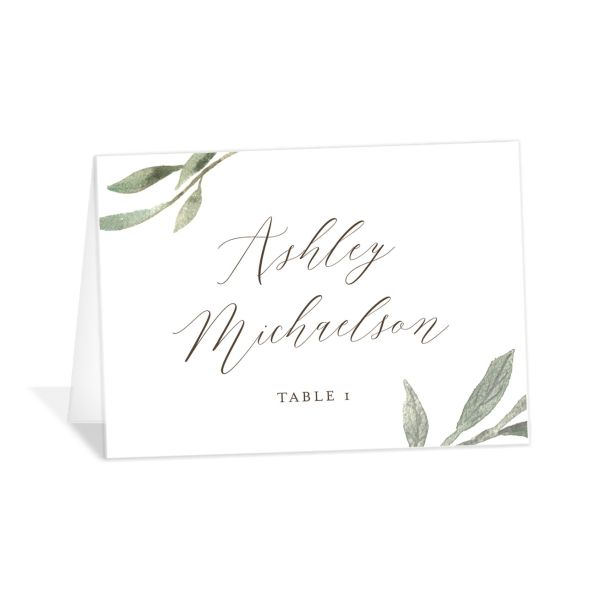 Muted Floral Wedding Place Card front copper