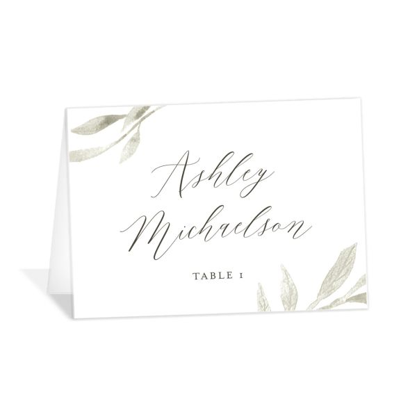 Muted Floral Wedding Place Card front purple