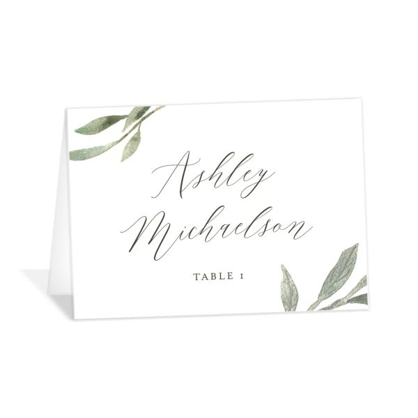 Muted Floral Wedding Place Card front white