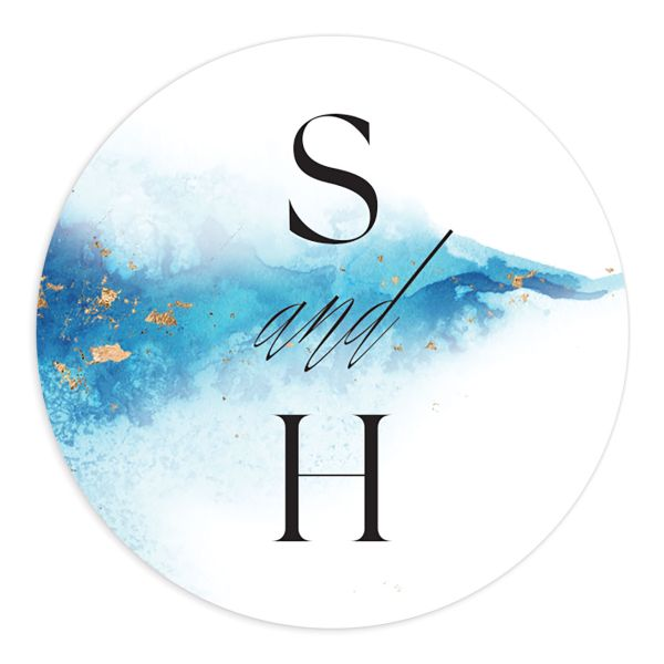 Painted Ethereal Round Sticker blue