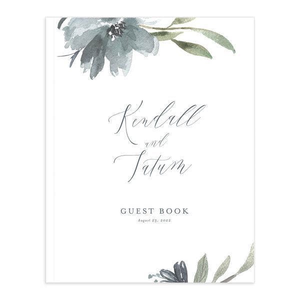 Muted Floral Wedding Guest Book front blue