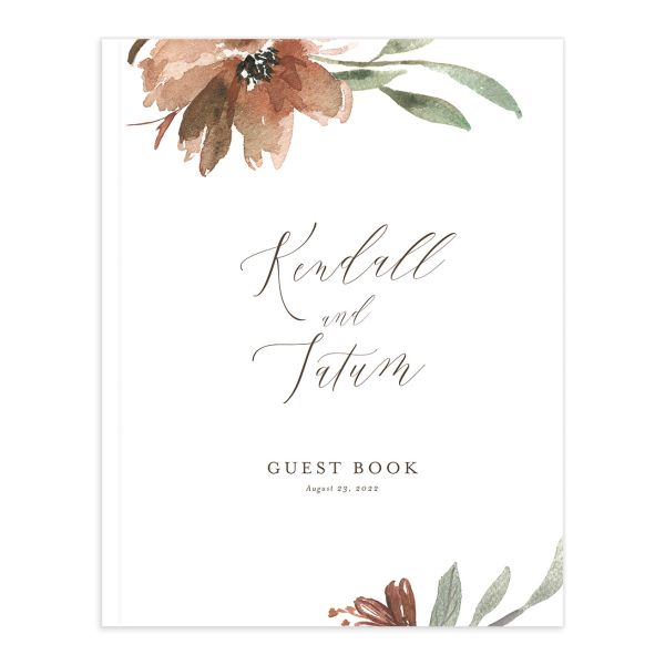 Muted Floral Wedding Guest Book front copper