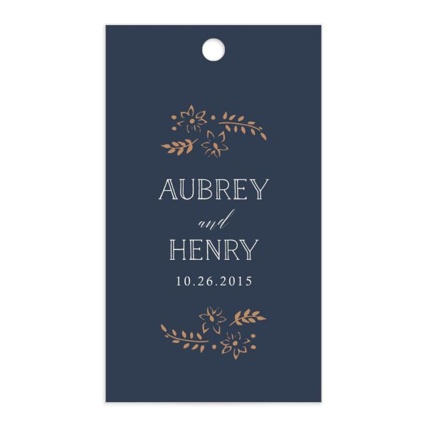 Woodsy Wreath gift tag back blue