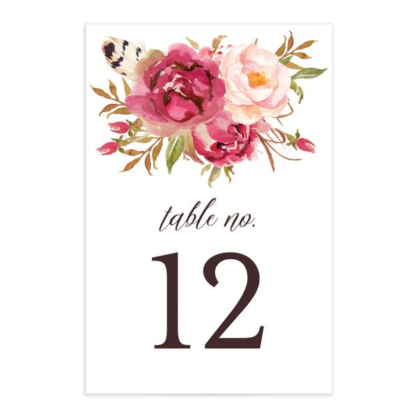 Bohemian Floral Table Numbers front pink