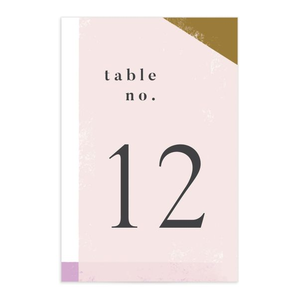 Modern Colorblock table number front pink