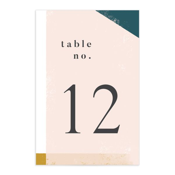 Modern Colorblock table number front teal