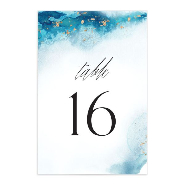 Painted Ethereal Table Number front blue