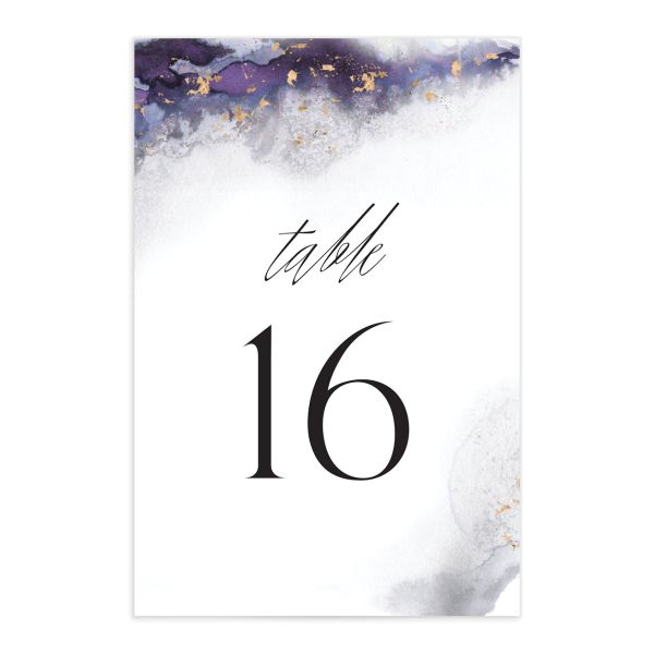 Painted Ethereal Table Number front purple