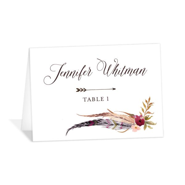 Bohemian Floral Place Card Front Burgundy