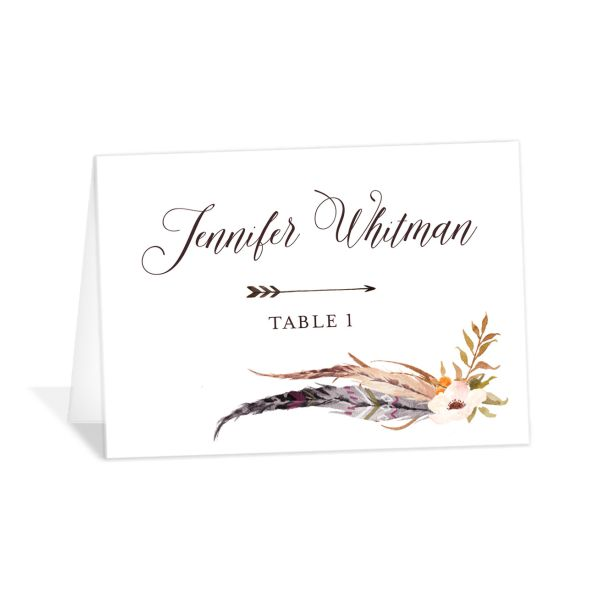 Bohemian Floral Place Card Front Peach