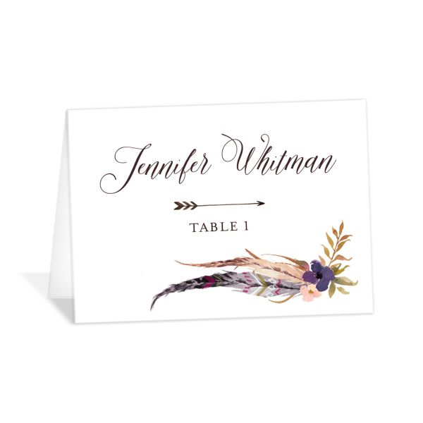 Bohemian Floral Place Card Front Purple