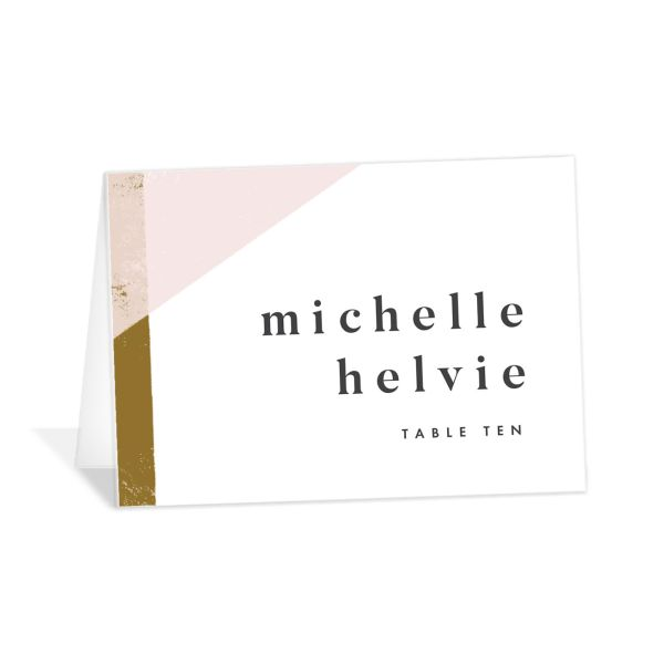 Modern Colorblock place card pink
