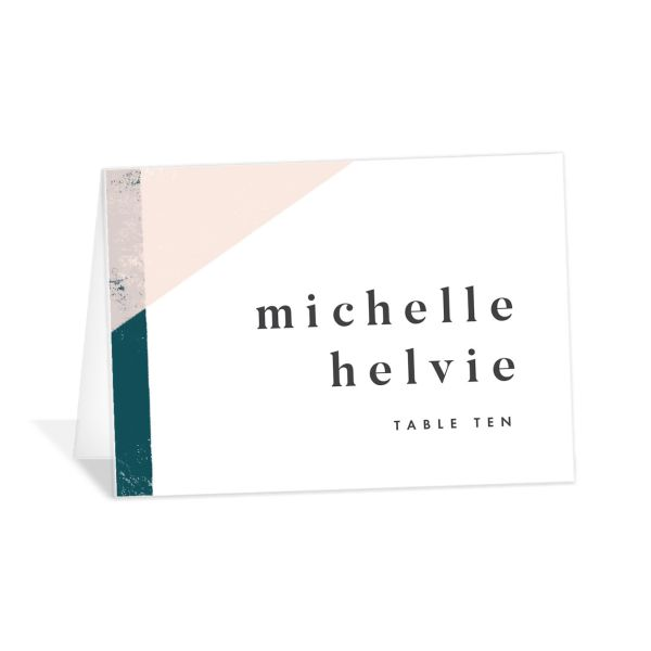 Modern Colorblock place card teal