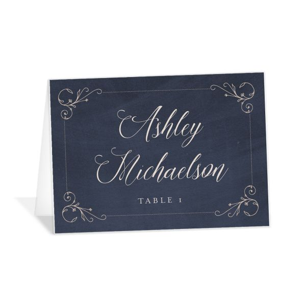 Vintage Luxe Place Card Blue