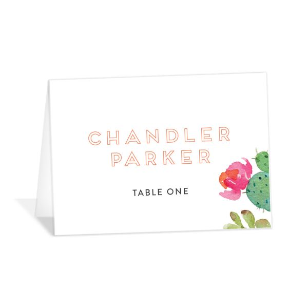 Watercolor Cactus place card front