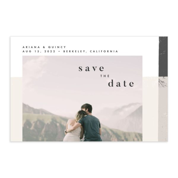 Modern Colorblock save the date postcard front grey