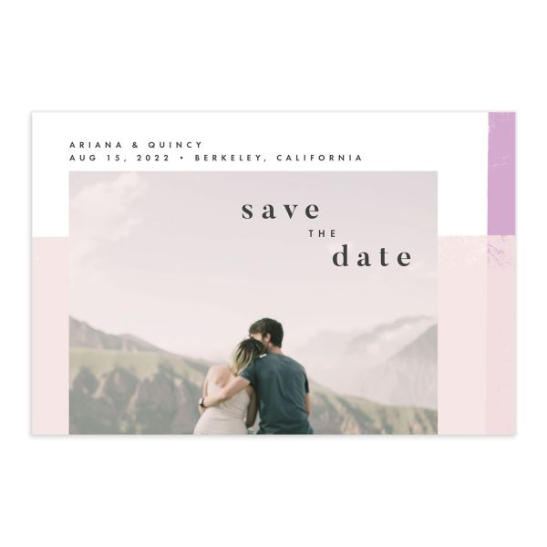 Modern Colorblock save the date postcard front pink