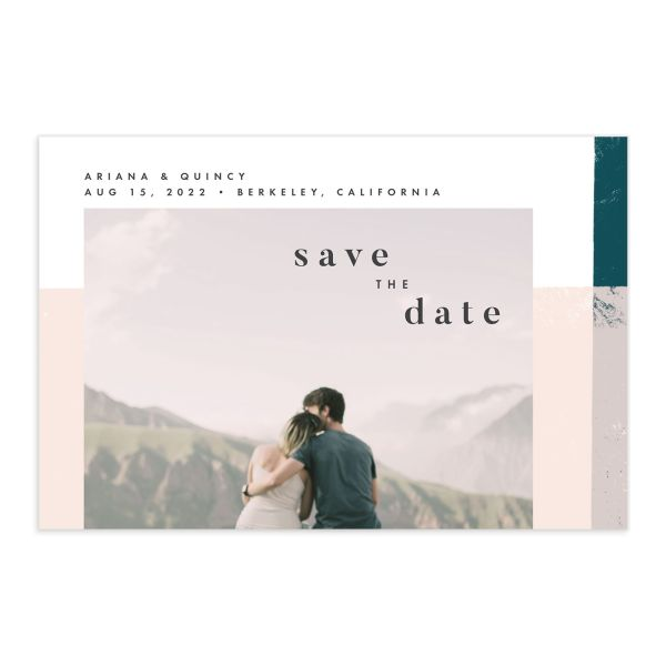 Modern Colorblock save the date postcard front teal