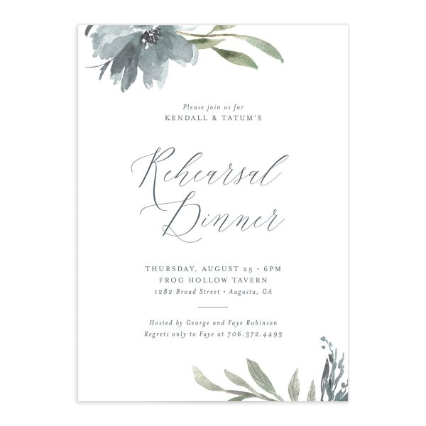 Muted Floral Rehearsal Dinner Invitation front blue