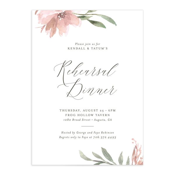 Muted Floral Rehearsal Dinner Invitation back pink