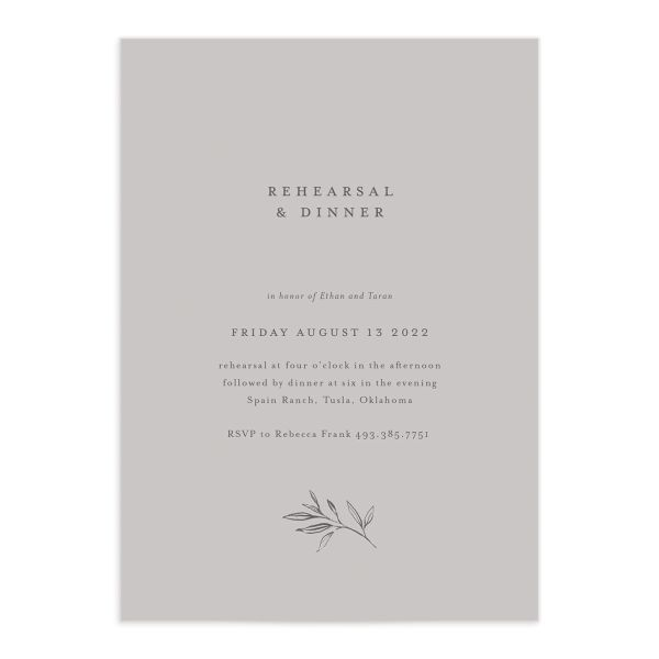 Minimal Leaves rehearsal dinner invitation front