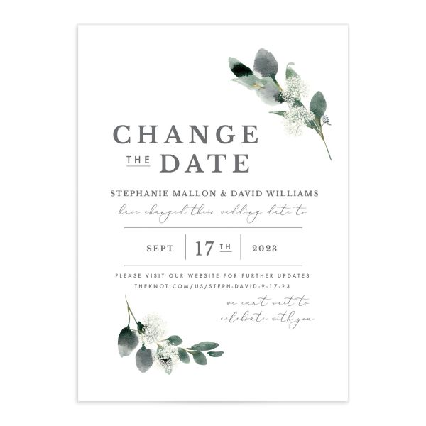 Elegant Greenery change the date card front