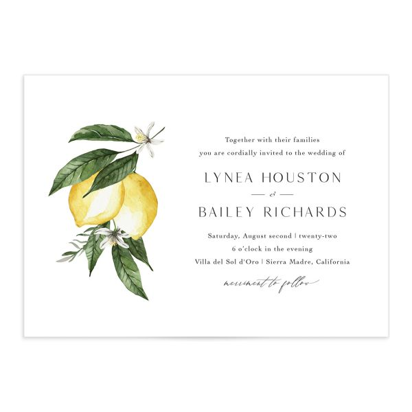 Botanical Lemon Wedding Invitation front