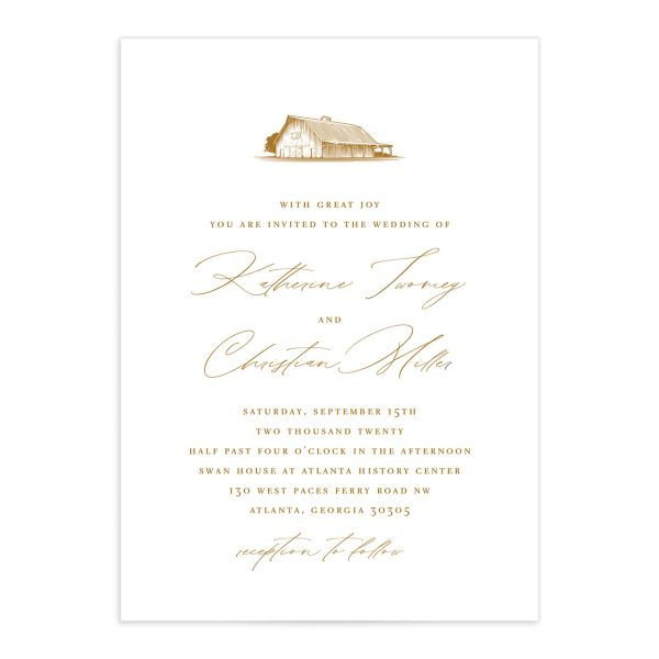 Classic Landscape wedding invite catalog mustard barn