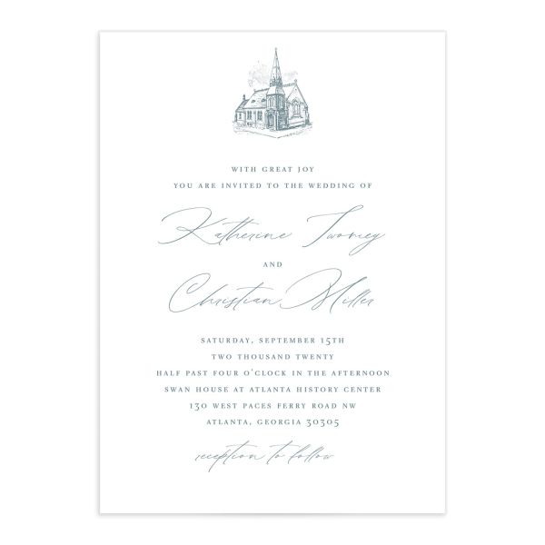 Classic Landscape wedding invite catalog blue church
