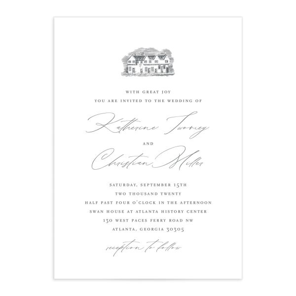 Classic Landscape wedding invite catalog grey estate
