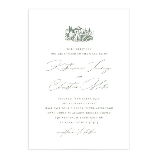 Classic Landscape wedding invite catalog green vineyard