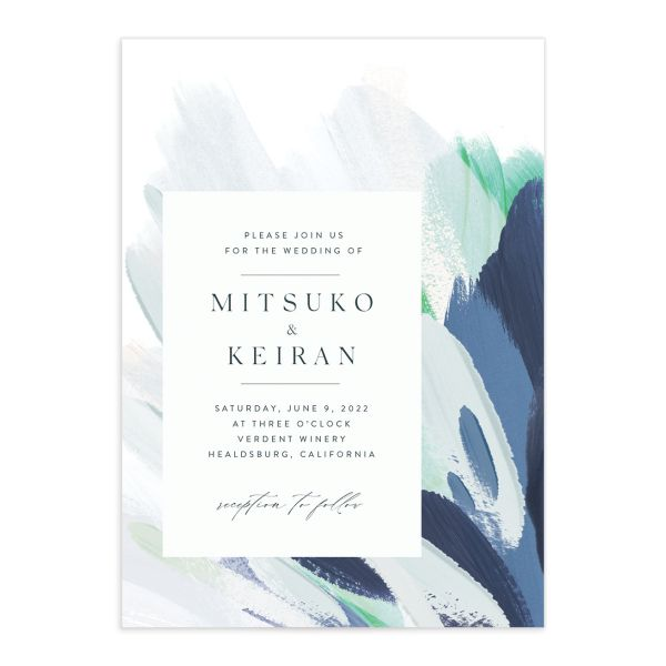 Floral Abstract Wedding Invitation front blue